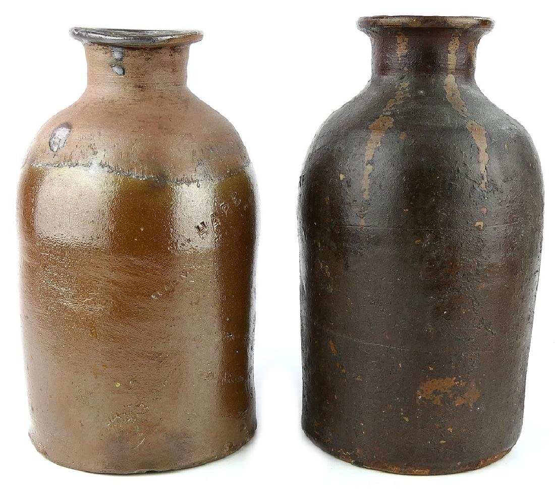 2 WILLIAM HARE SALT-GLAZE POTTERY CANNING JARS