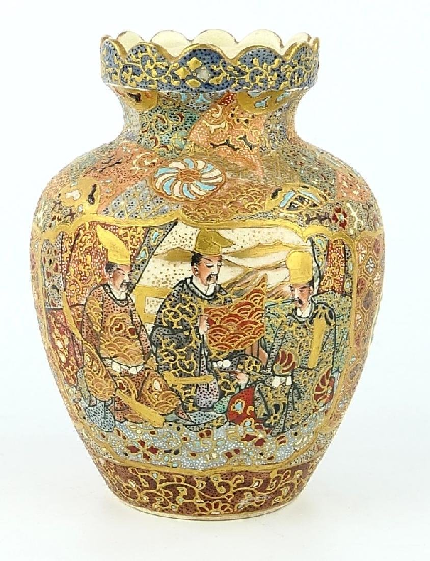 ANTIQUE SATSUMA JAPANESE PORCELAIN CABINET VASE