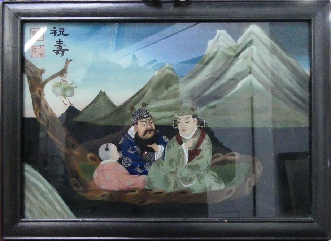 CHINESE VINATGE REVERSE PAINTING ON GLASS