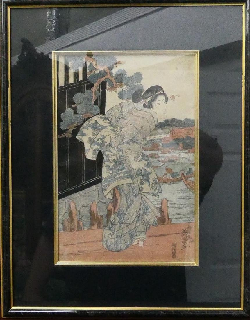 ANTIQUE JAPANESE COLORED WOODBLOCK