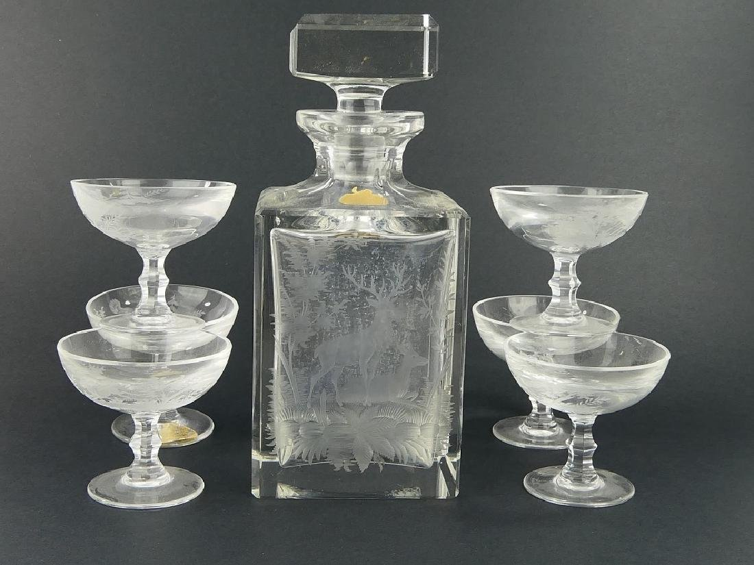 7pc ECHT BLEIKRISTALL HUNTING DECANTER & GLASSES