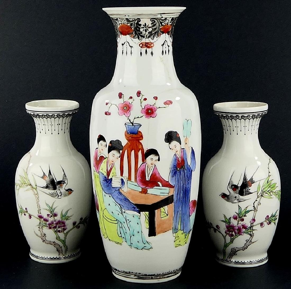 LOT OF 3 CHINESE FAMILLE ROSE PORCELAIN VASES