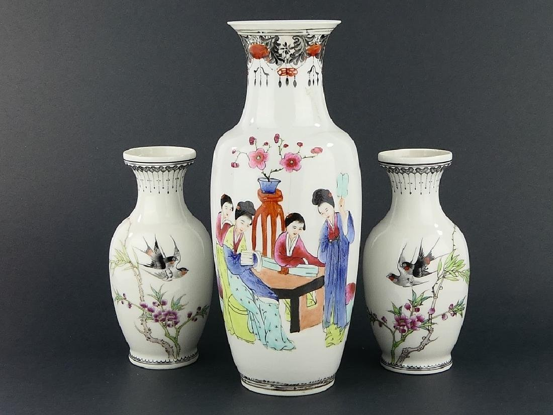 LOT OF 3 CHINESE FAMILLE ROSE PORCELAIN VASES - 2