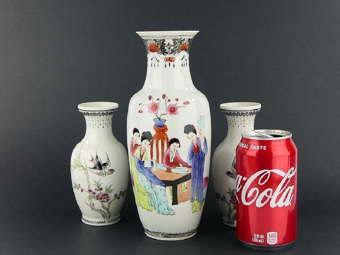 LOT OF 3 CHINESE FAMILLE ROSE PORCELAIN VASES - 3