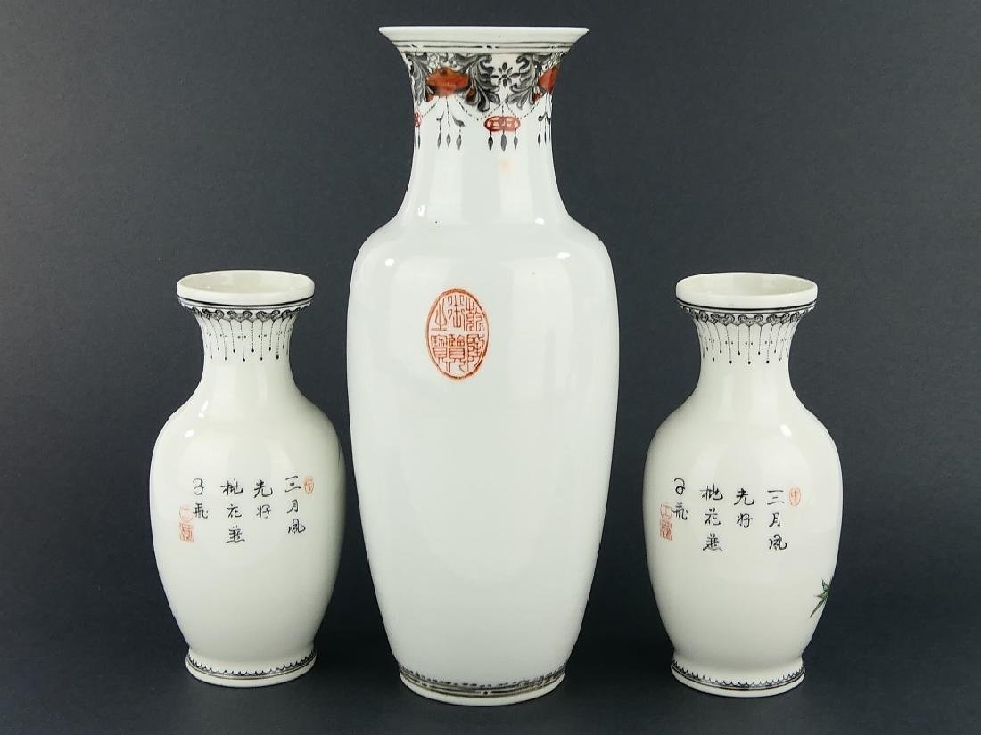 LOT OF 3 CHINESE FAMILLE ROSE PORCELAIN VASES - 8