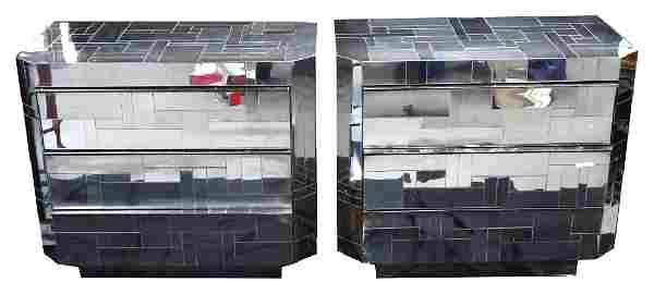 """PAIR OF PAUL EVANS DIRECTIONAL """"CITY SCAPE"""" CHESTS"""