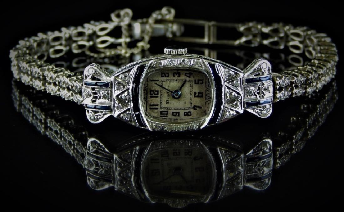 MINTON PLATINIUM DIAMOND ART DECO WATCH