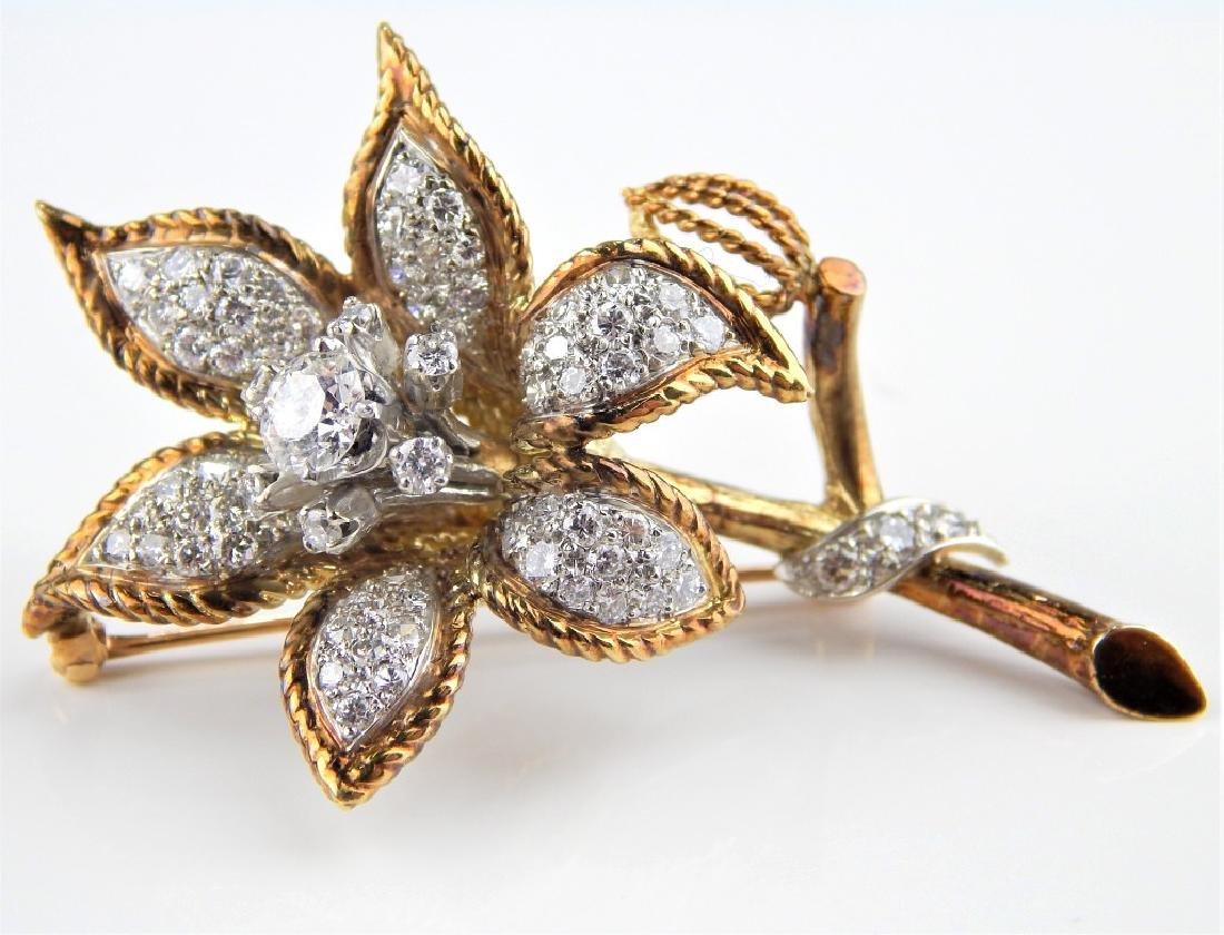 4.6CT DIAMOND 14K YELLOW GOLD FLOWER BROOCH PIN
