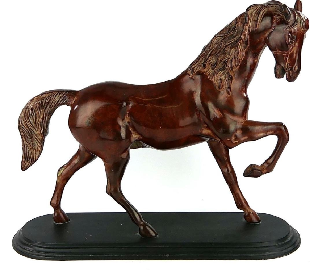 LARGE COLD PAINTED RED ENAMELED METAL HORSE FIGURE