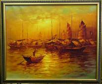 F. WONG SUNSET JUNK BOATS OIL PAINTING ON CANVAS