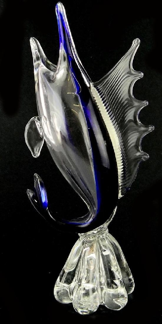 VINTAGE MURANO CLEAR TO COBALT GLASS MARLIN VASE