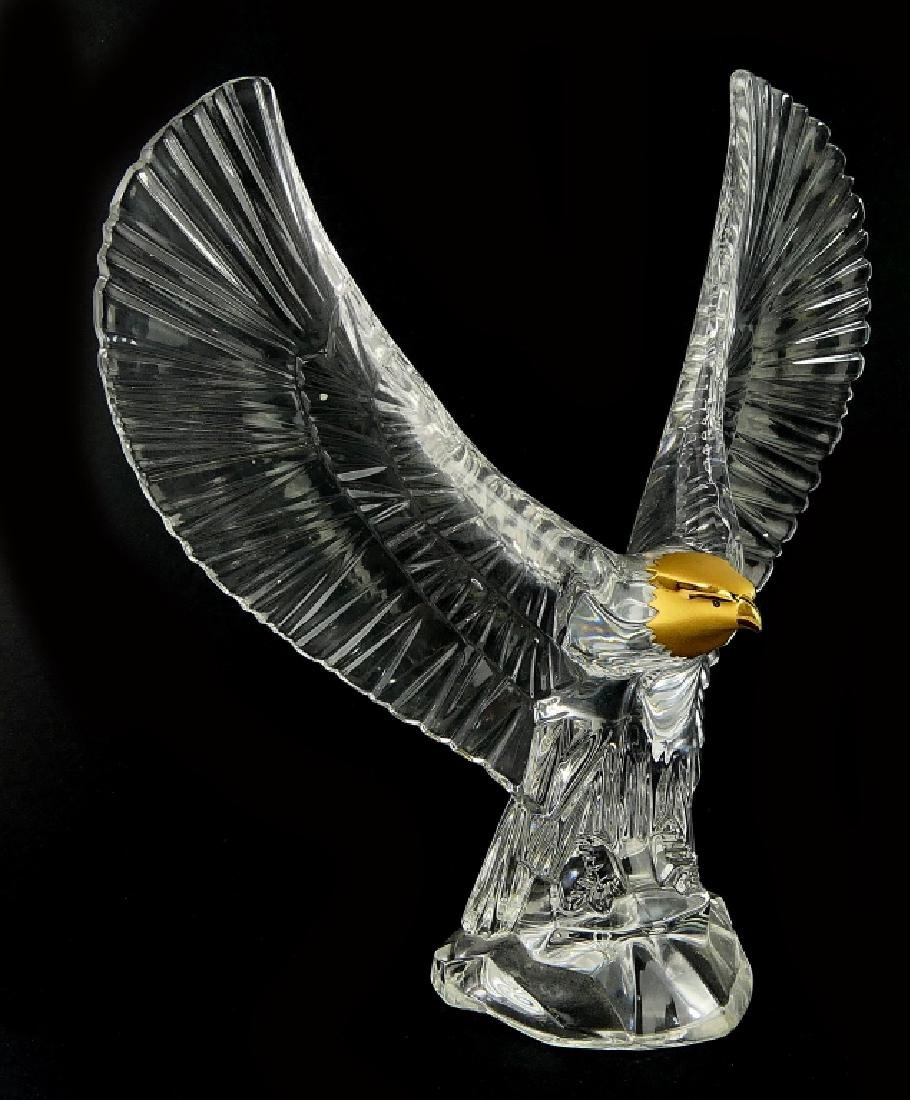 MARKED FM GLASS EAGLE WITH GOLD  TONE HEAD