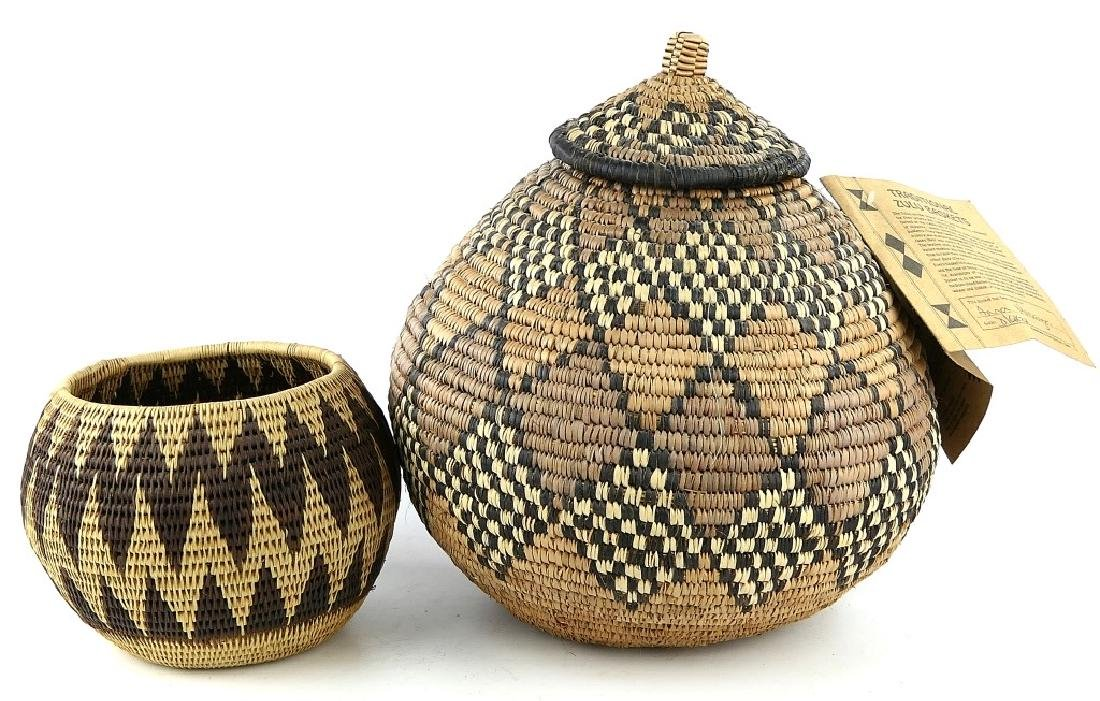 2 AFRICAN HAND MADE TRADITIONAL ZULU BASKETS ITEMS