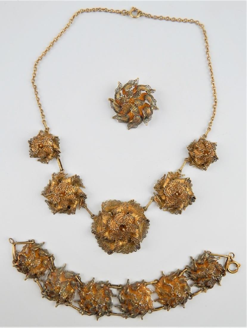 ANTIQUE FRENCH VERMEIL SILVER FILIGREE JEWELRY SET