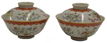 Pr 19th CENTURY CHINESE FAMILLE ROSE COVERED CUPS