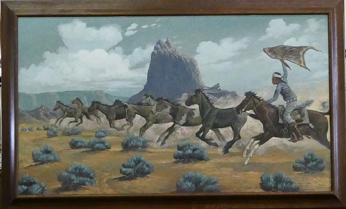 FRED CLEVELAND NAVAJO HORSE ROUNDUP LARGE OIL