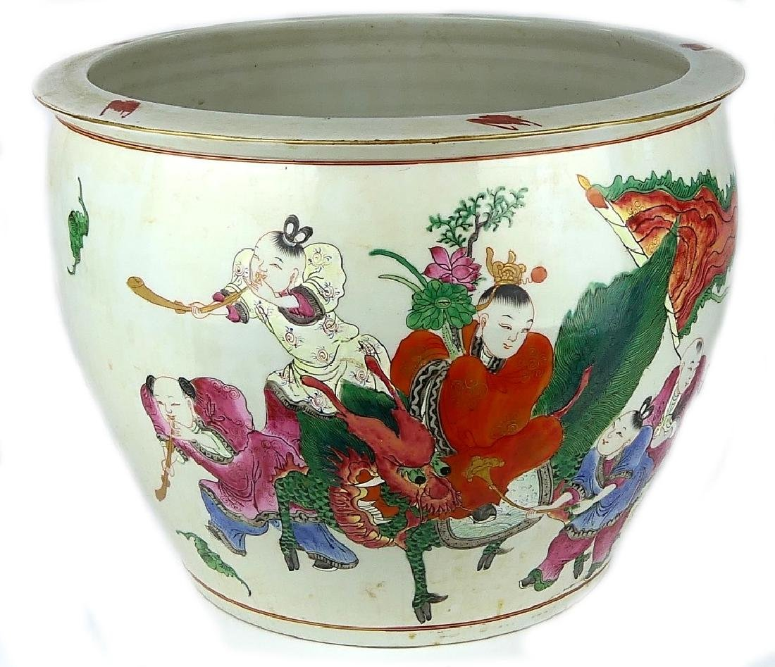 19th C CHINESE FAMILLE ROSE QILIN PARADE PLANTER