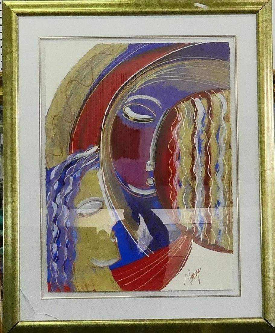 SIGNED VONZE ACRYLIC WORK ON ARCHES PAPER FRAMED