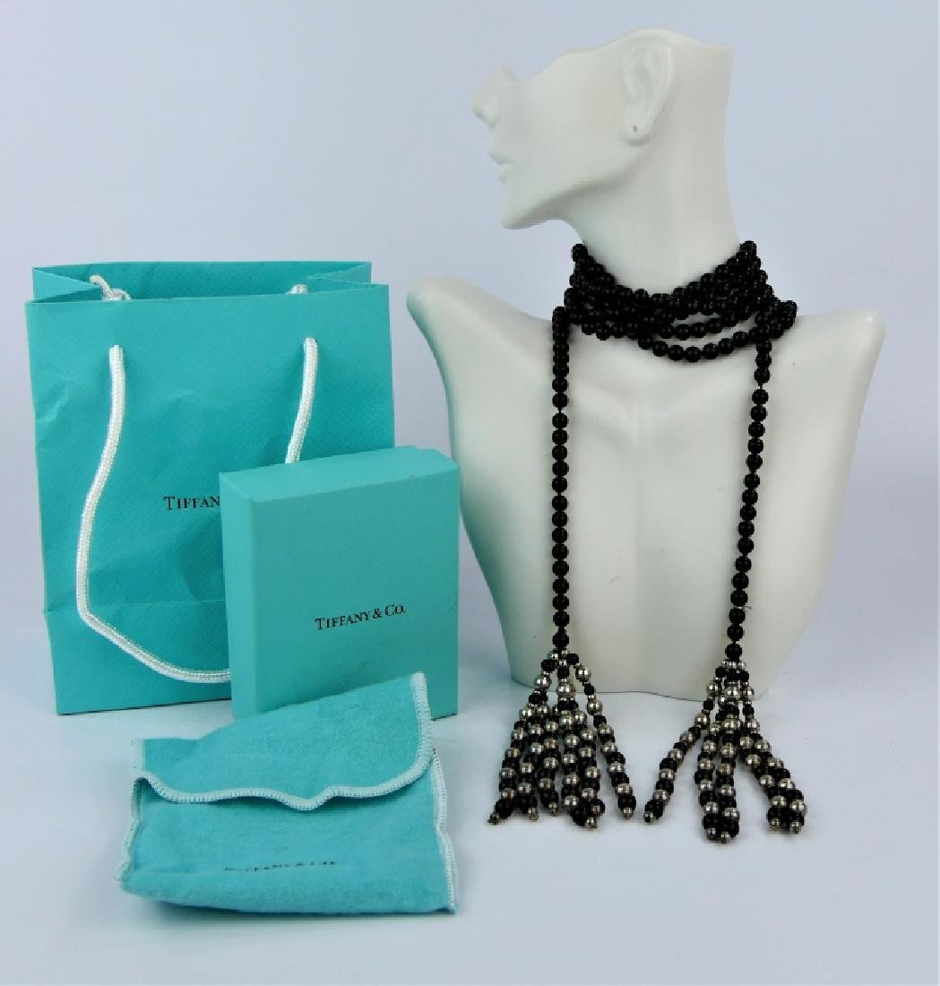 TIFFANY & CO ONYX STERLING RUNWAY LARIAT NECKLACE