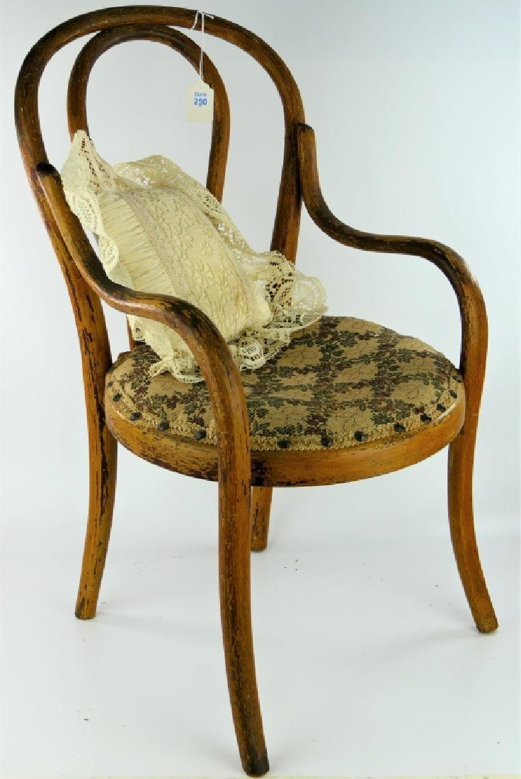 ANTIQUE WOODEN DOLL CHAIR WITH PILLOW CUSHION