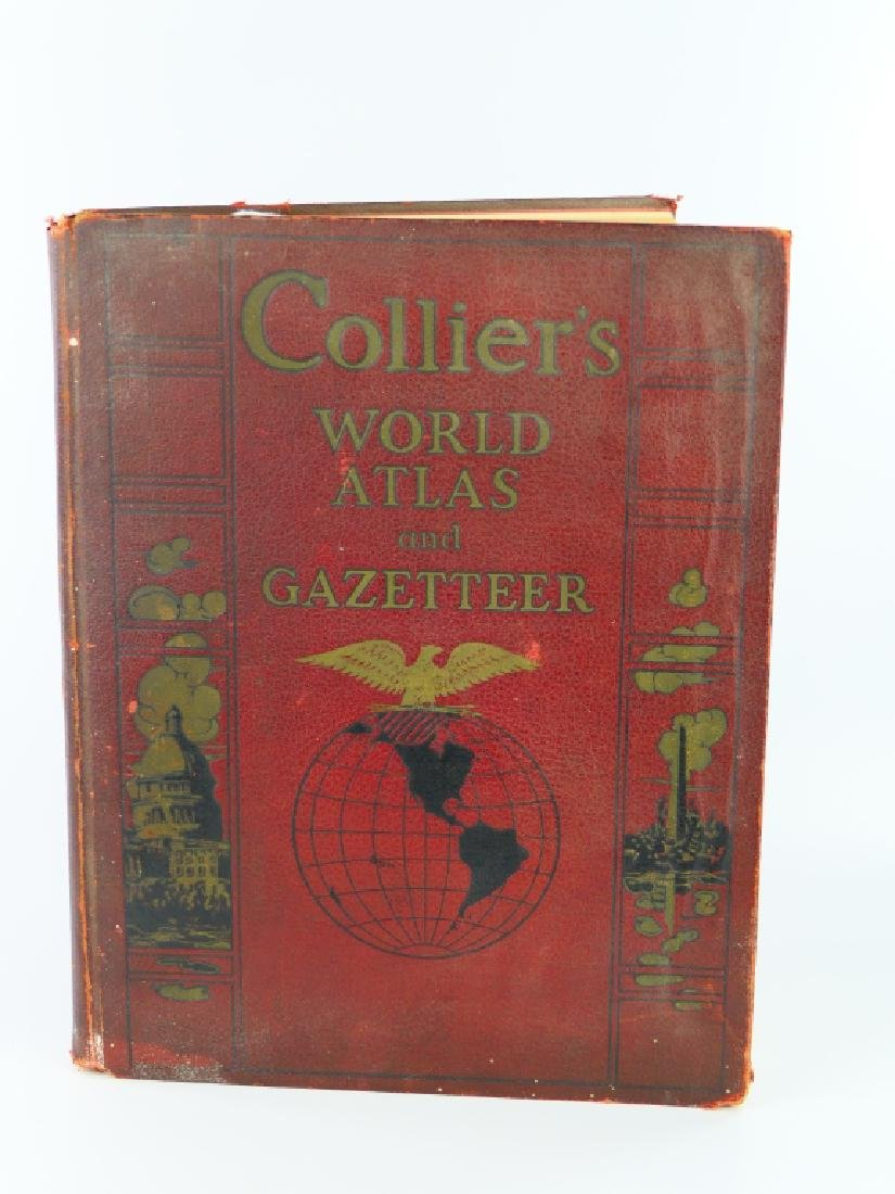 """'39 """"COLLIER'S WOLD ATLAS AND GAZETTEER"""" HARDCOVER"""