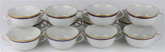 12 RICHARD GINORI GILT RIM CREAM SOUP BOWLS CUPS