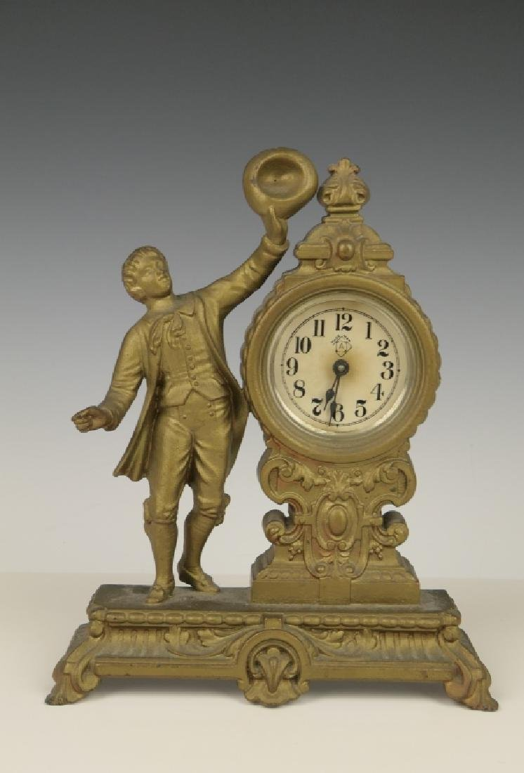1878 ANSONIA GILT METAL CASE VANITY DESK CLOCK