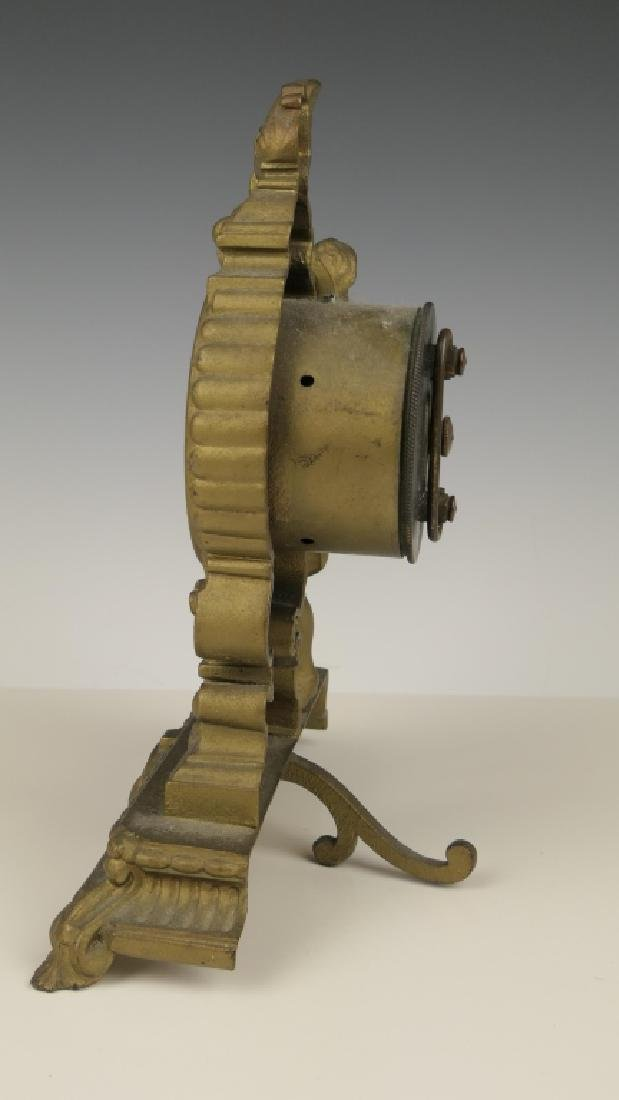 1878 ANSONIA GILT METAL CASE VANITY DESK CLOCK - 5