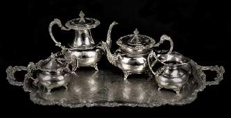 5pc COMMUNITY ASCOT SILVERPLATE TEA SERVICE SET