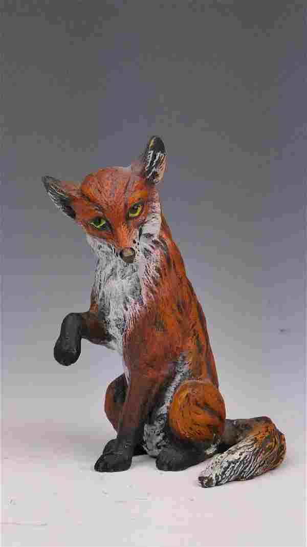 COLD PAINTED VIENNA BRONZE SEATED FOX FIGURE