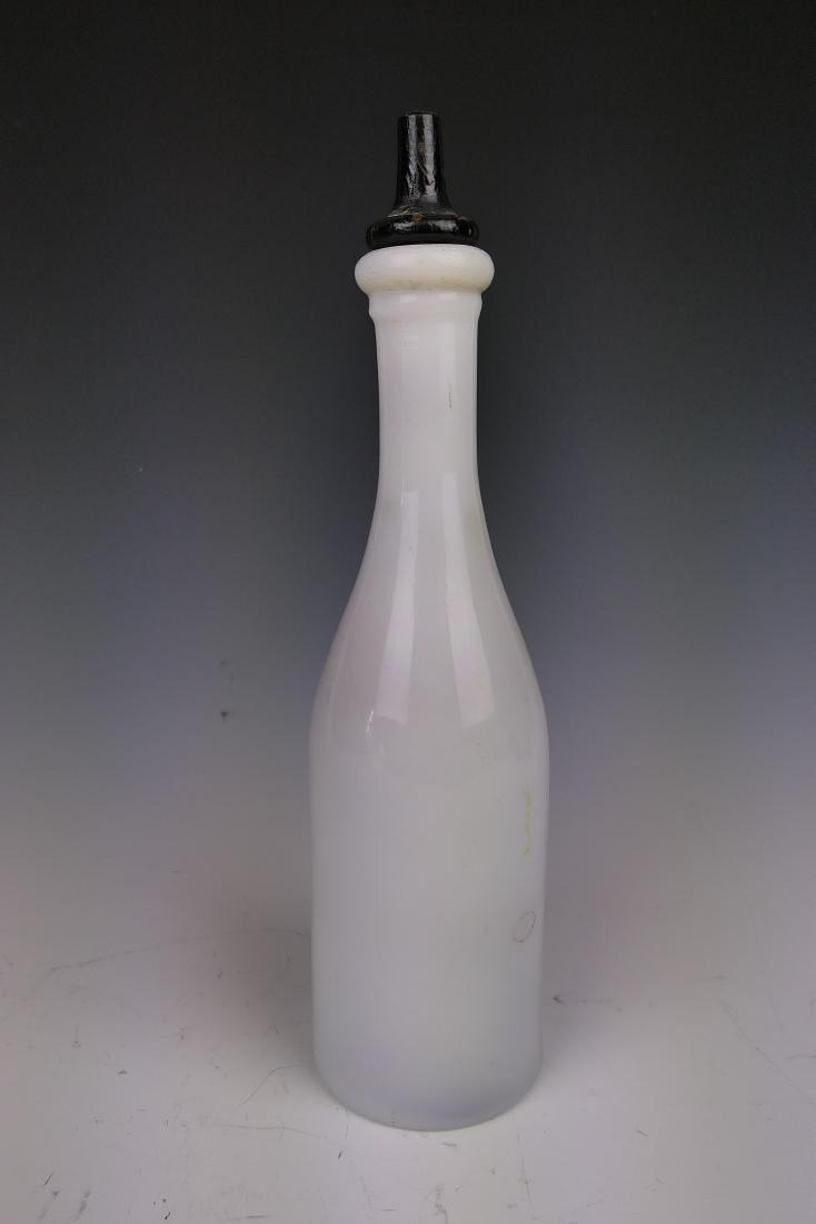 ANTIQUE MILK GLASS BAY RUM BARBERS BOTTLE - 4