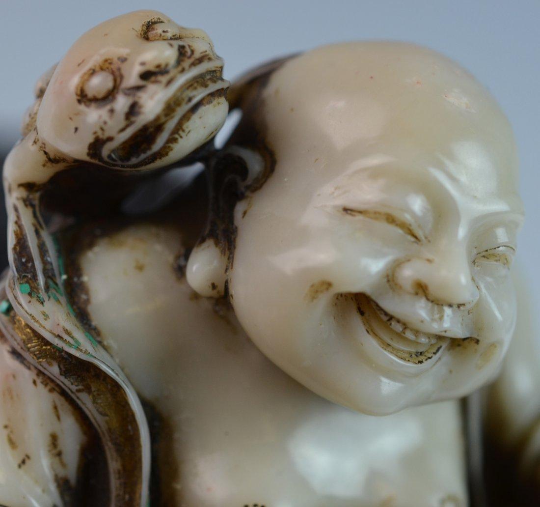 CHINESE WHITE SOAPSTONE GILT & ENAMEL LIUHAI - 8