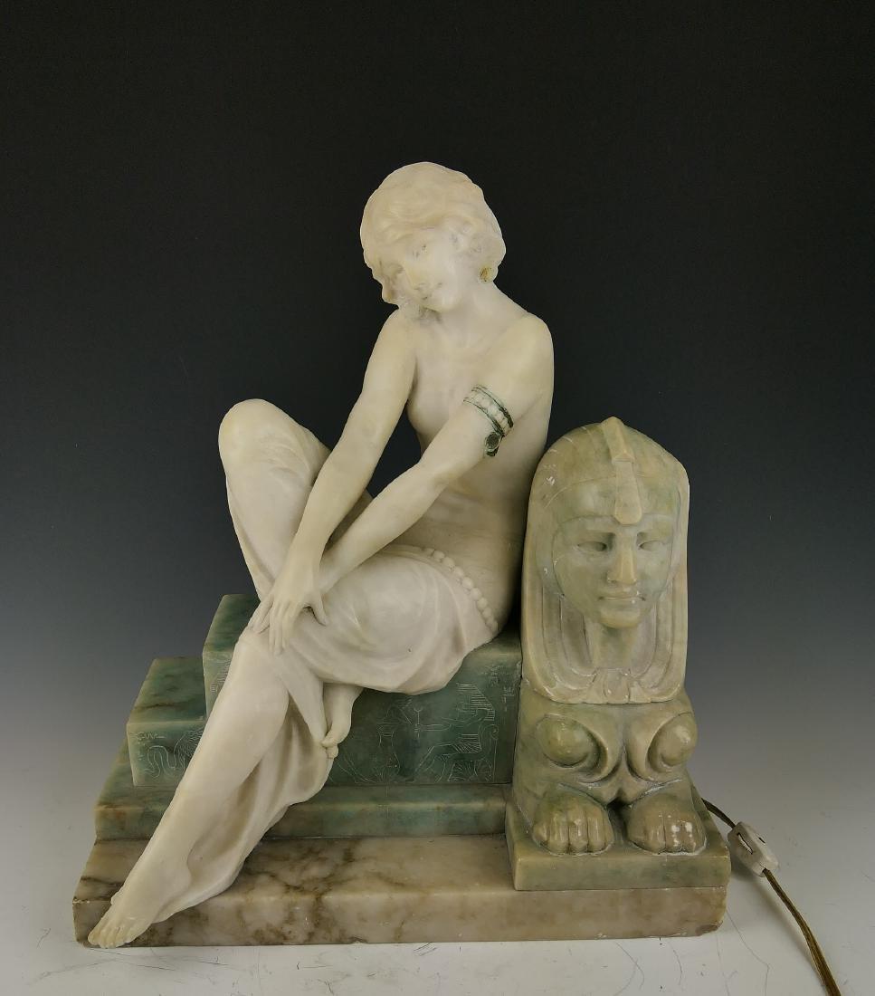 P SARCHI ART DECO EGYPTIAN MARBLE & ALABASTER LAMP
