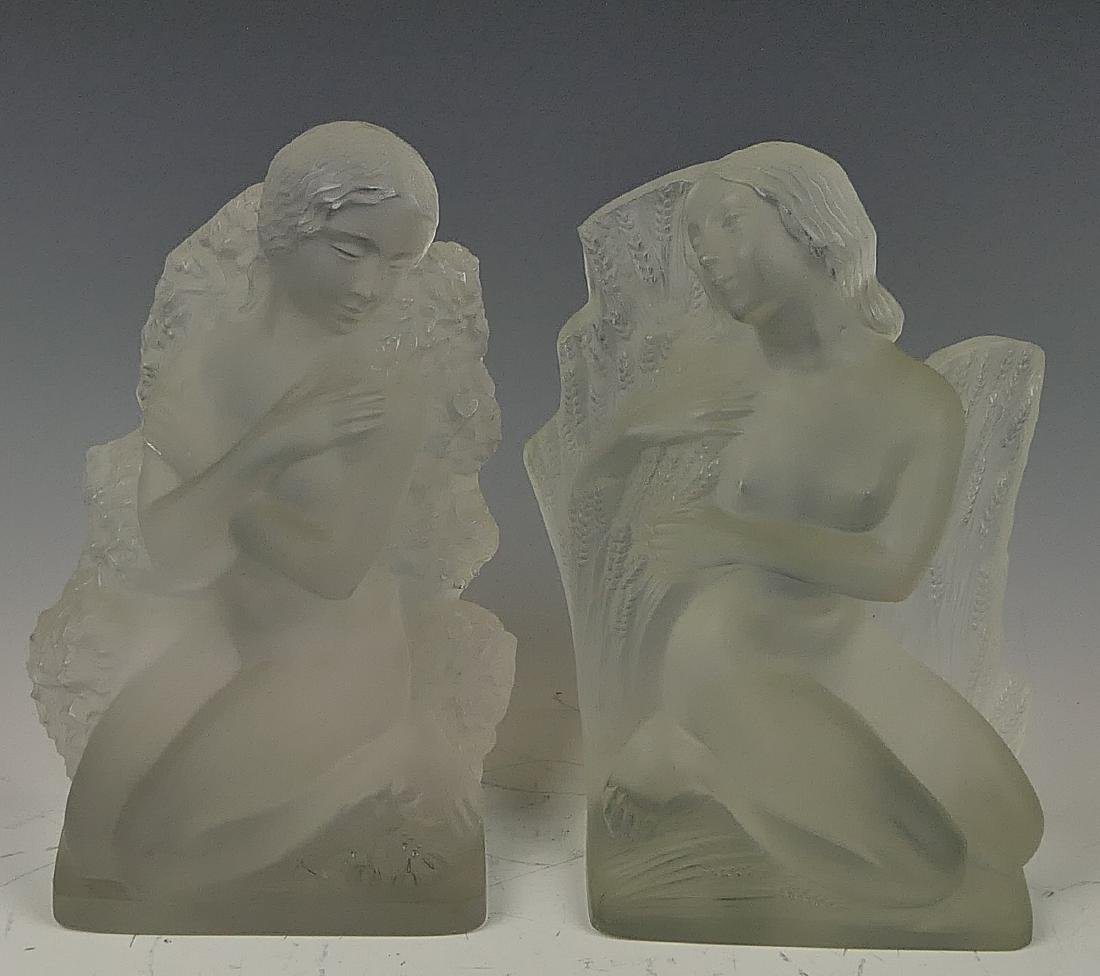 """R LALIQUE """"FOUR SEASONS"""" FROSTED CRYSTAL BOOKENDS"""