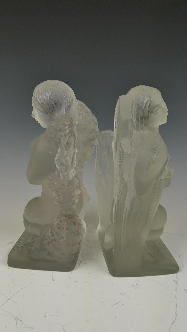 """R LALIQUE """"FOUR SEASONS"""" FROSTED CRYSTAL BOOKENDS - 6"""