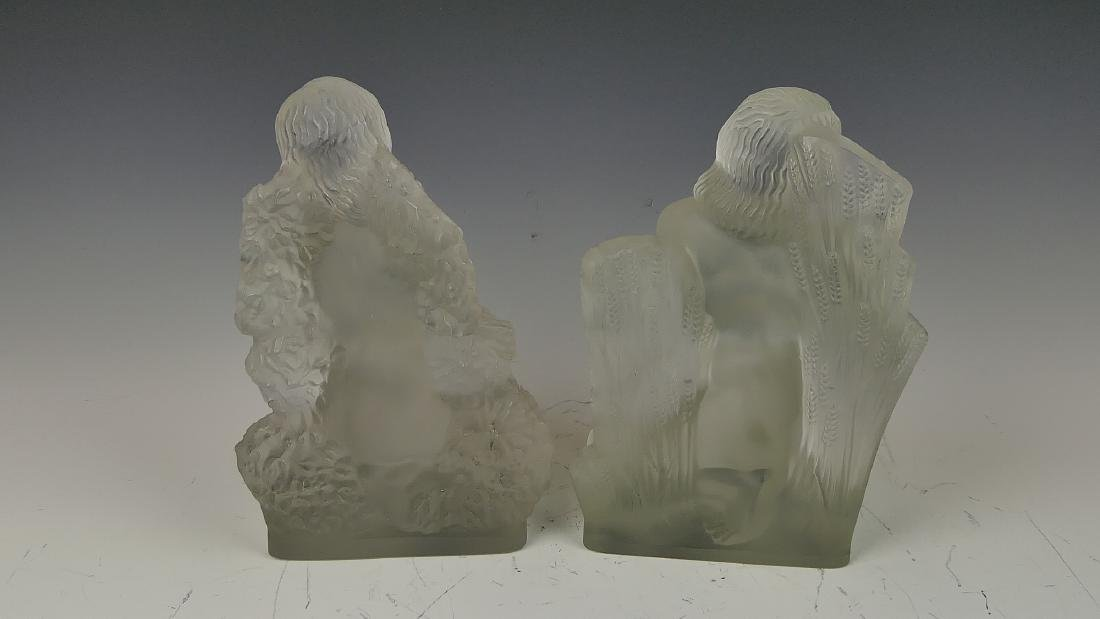 """R LALIQUE """"FOUR SEASONS"""" FROSTED CRYSTAL BOOKENDS - 7"""