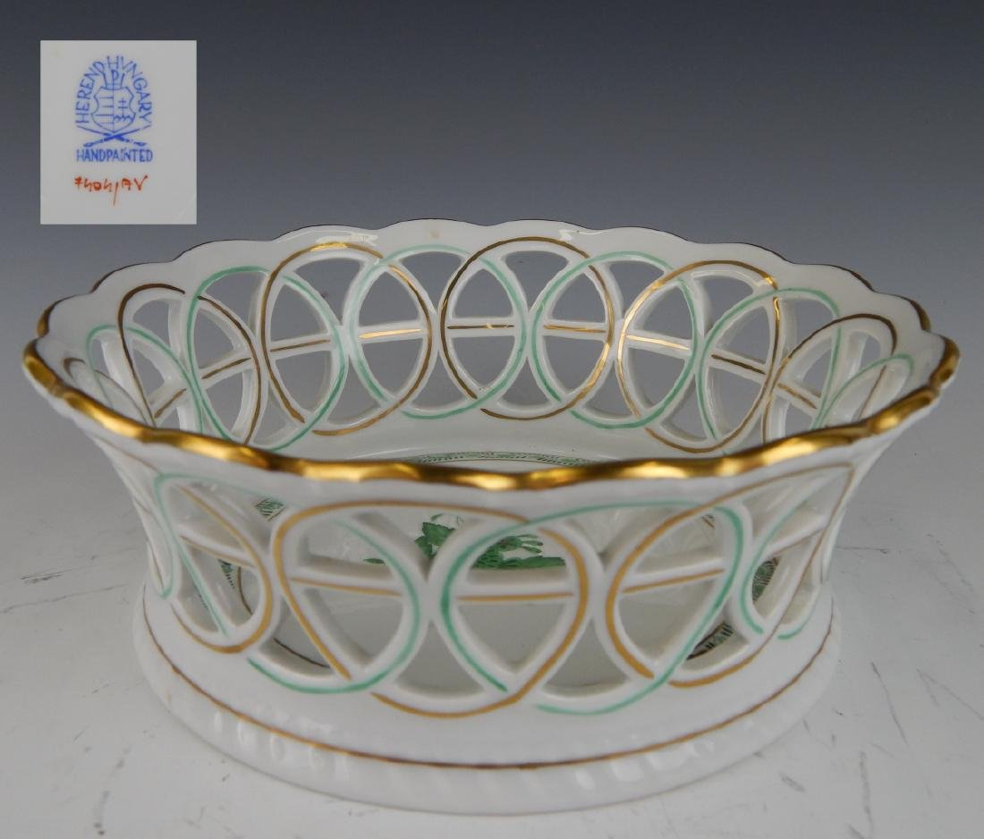 "HEREND ""CHINESE BOUQUET GREEN"" OPENWORK 7"" BOWL"