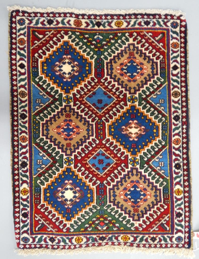 2X3' PERSIAN YALAMEH HAND KNOTTED RUG