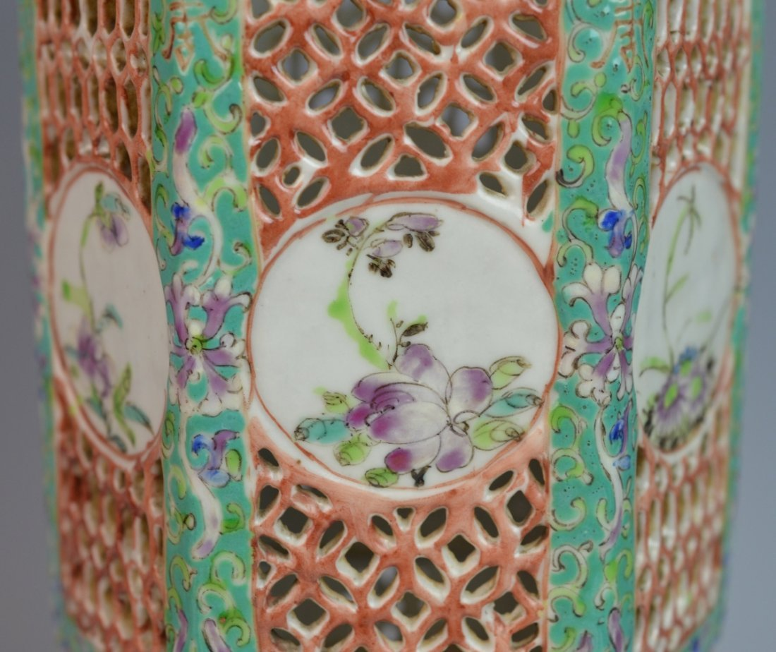 19th C CHINESE FAMILLE ROSE PORCELAIN LANTERN COVER - 2