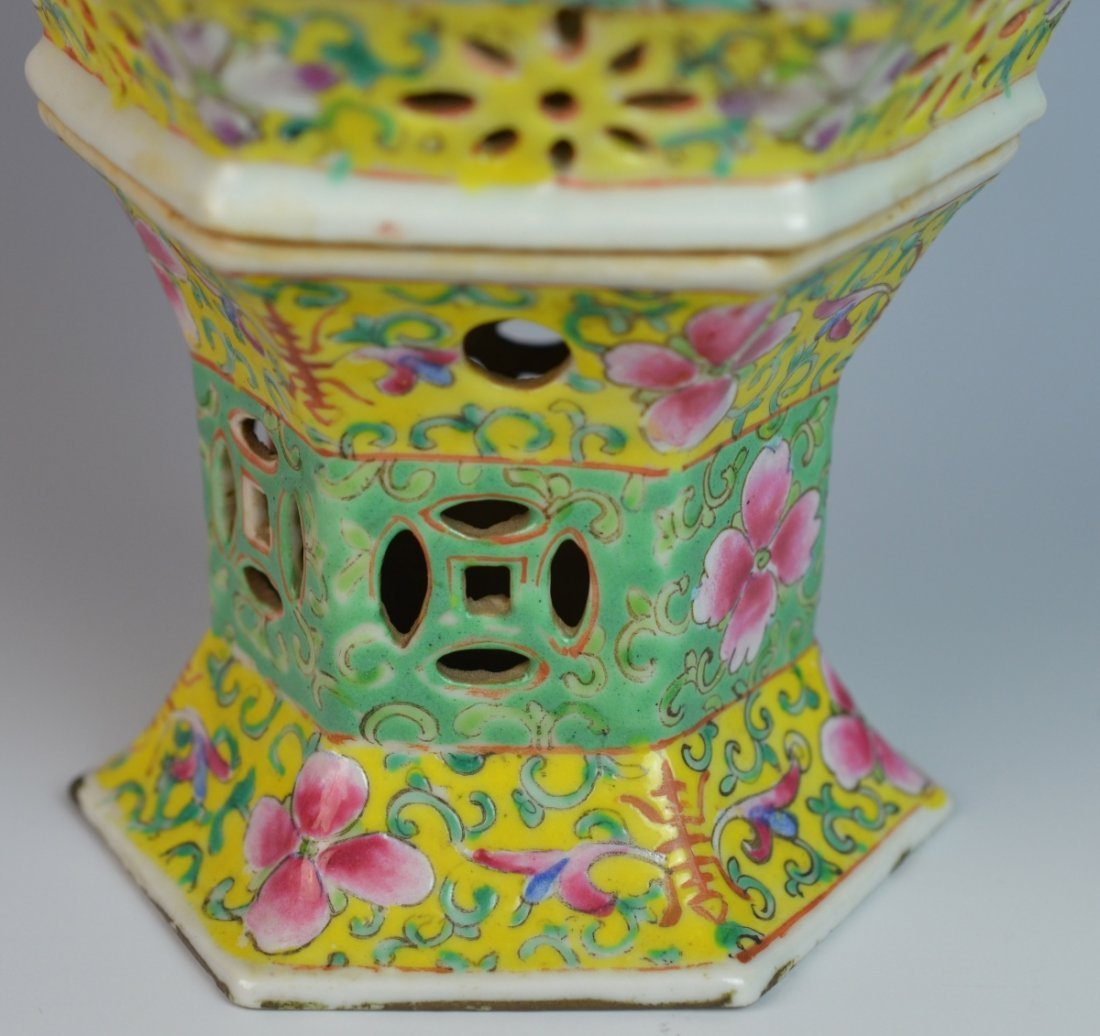19th C CHINESE FAMILLE ROSE PORCELAIN LANTERN COVER - 4