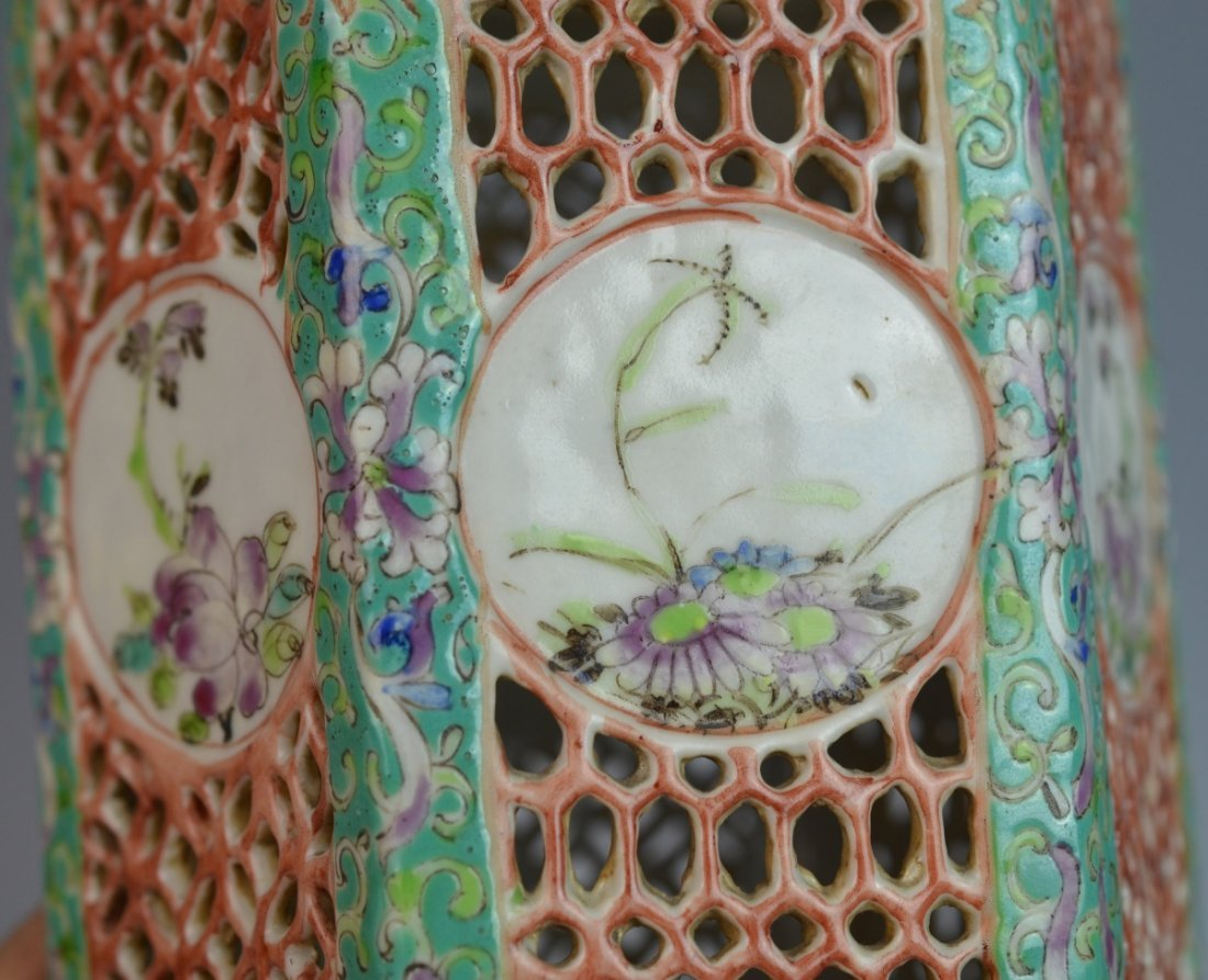 19th C CHINESE FAMILLE ROSE PORCELAIN LANTERN COVER - 5