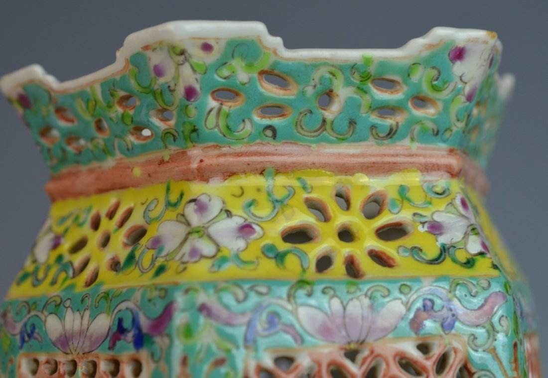 19th C CHINESE FAMILLE ROSE PORCELAIN LANTERN COVER - 6