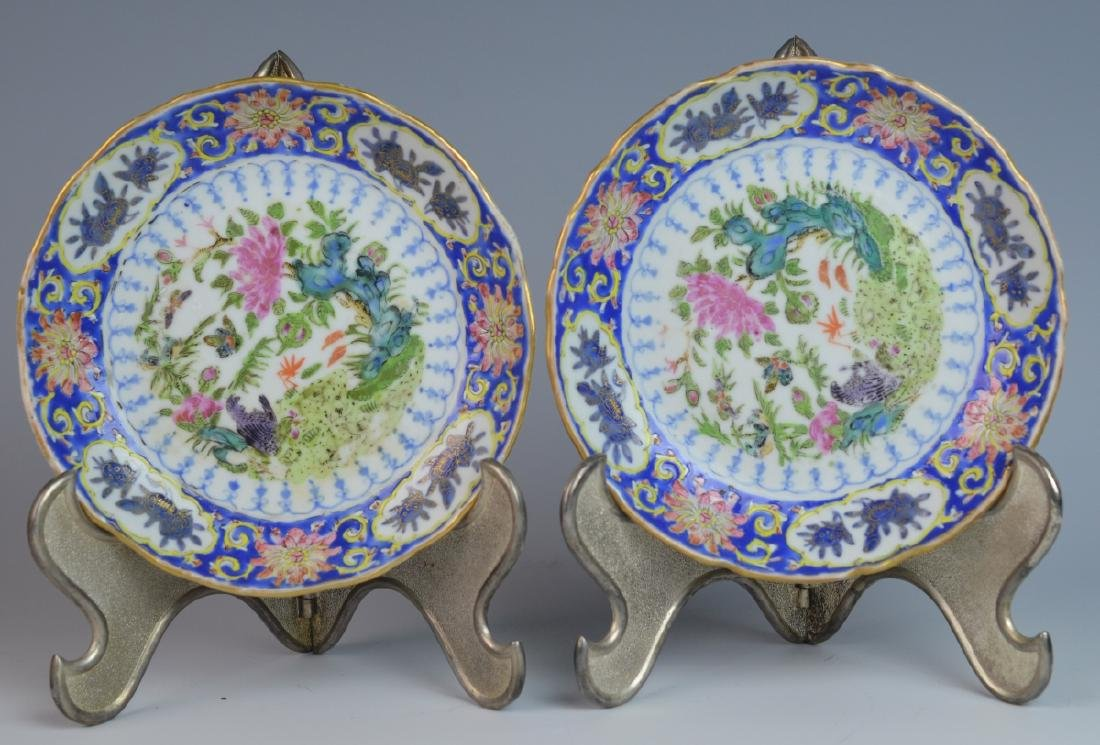 """19th C CHINESE FAMILLE ROSE PORCELAIN 5.5"""" PLATES"""