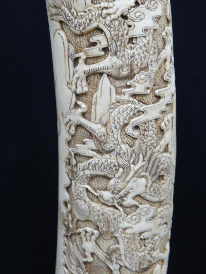 PAIR OF LARGE CHINESE CARVED BONE DRAGONS TUSKS - 10