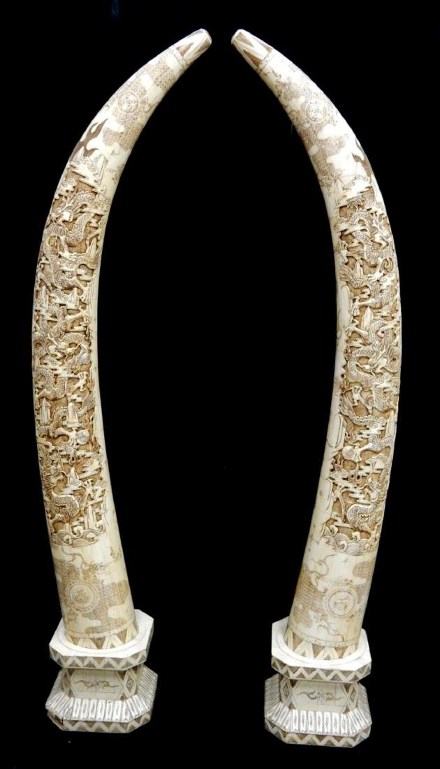 PAIR OF LARGE CHINESE CARVED BONE DRAGONS TUSKS