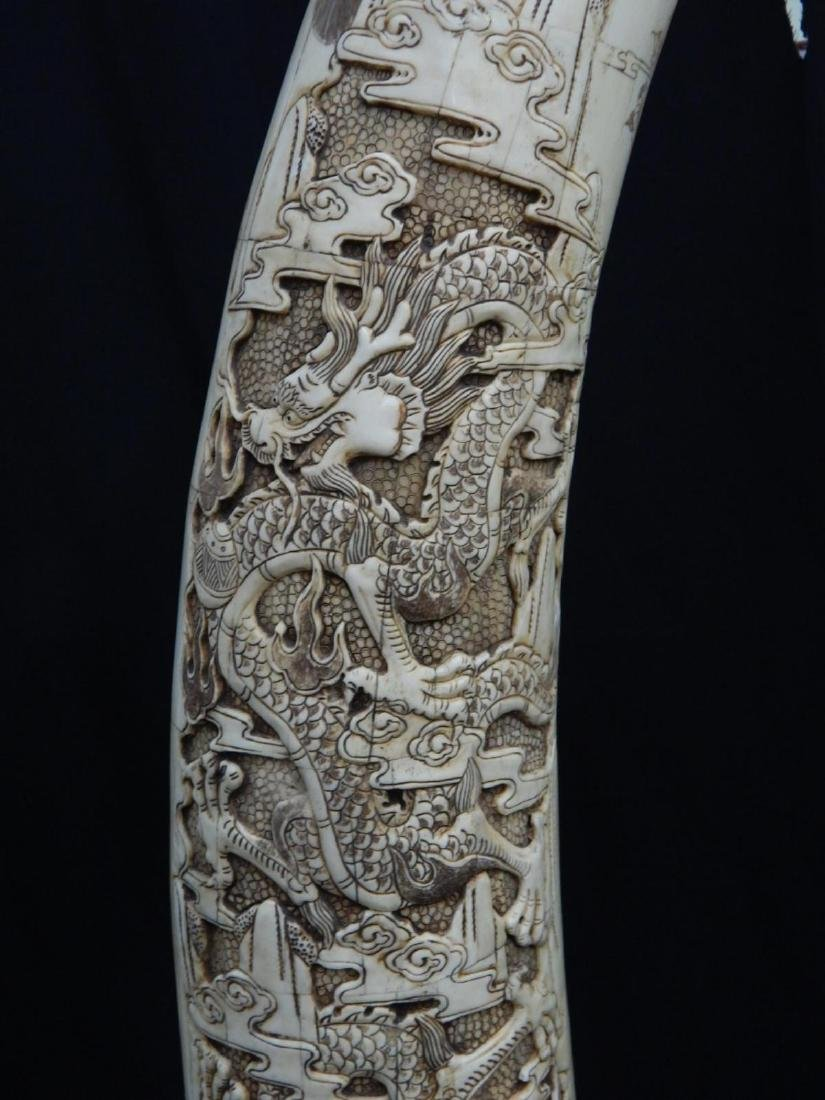 PAIR OF LARGE CHINESE CARVED BONE DRAGONS TUSKS - 4