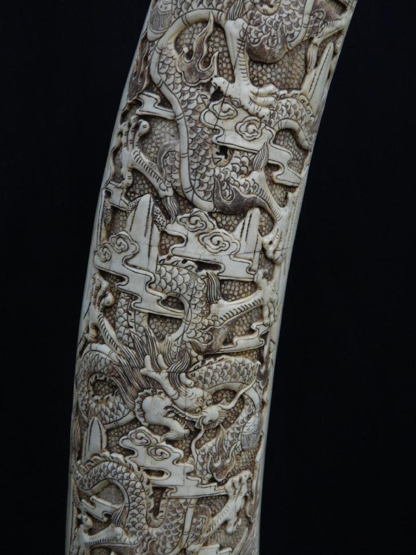 PAIR OF LARGE CHINESE CARVED BONE DRAGONS TUSKS - 5