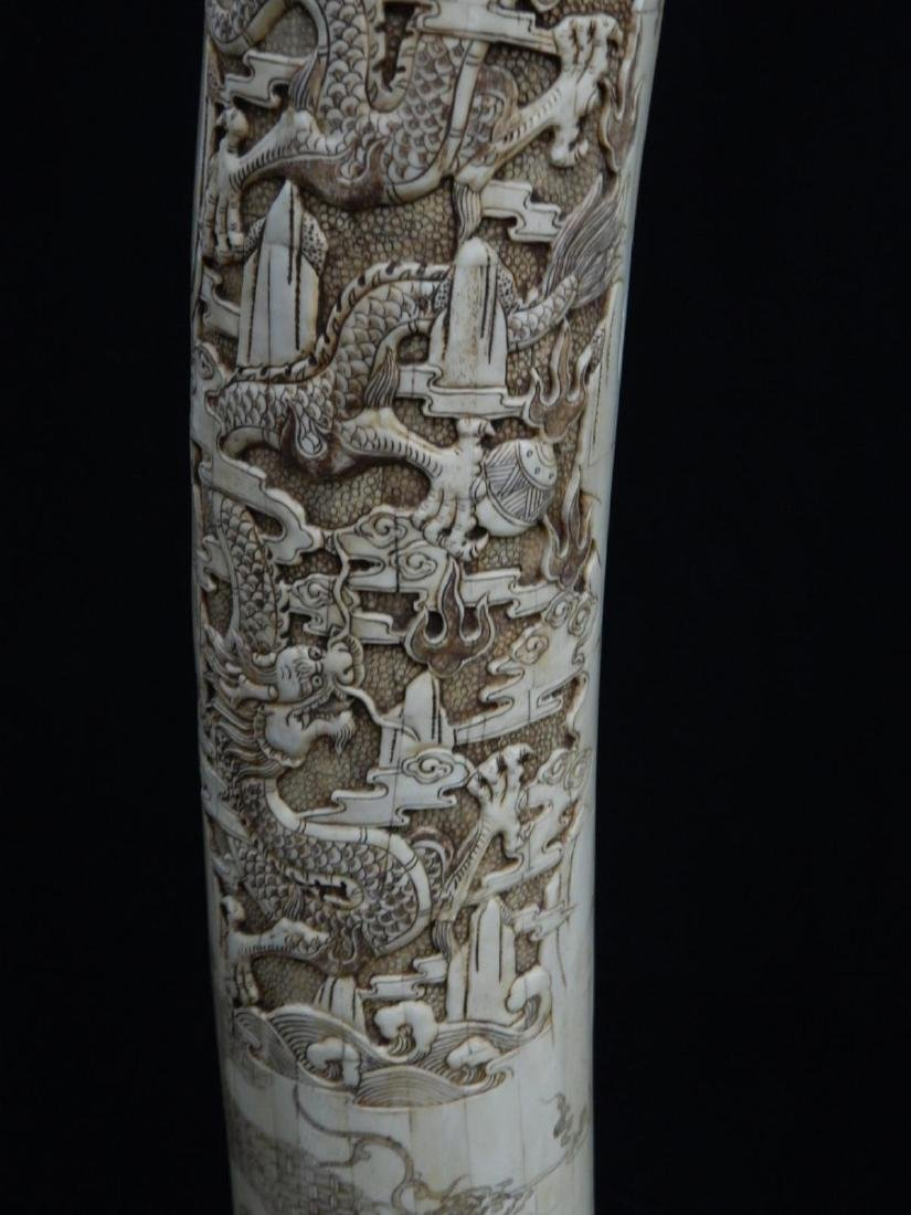 PAIR OF LARGE CHINESE CARVED BONE DRAGONS TUSKS - 6