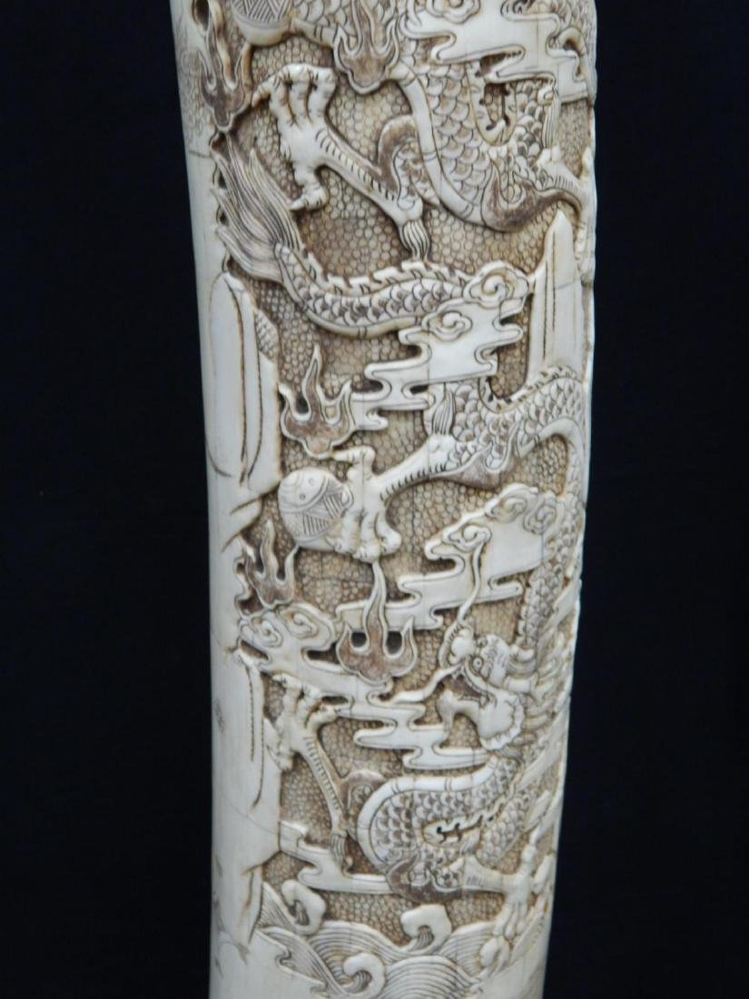 PAIR OF LARGE CHINESE CARVED BONE DRAGONS TUSKS - 9