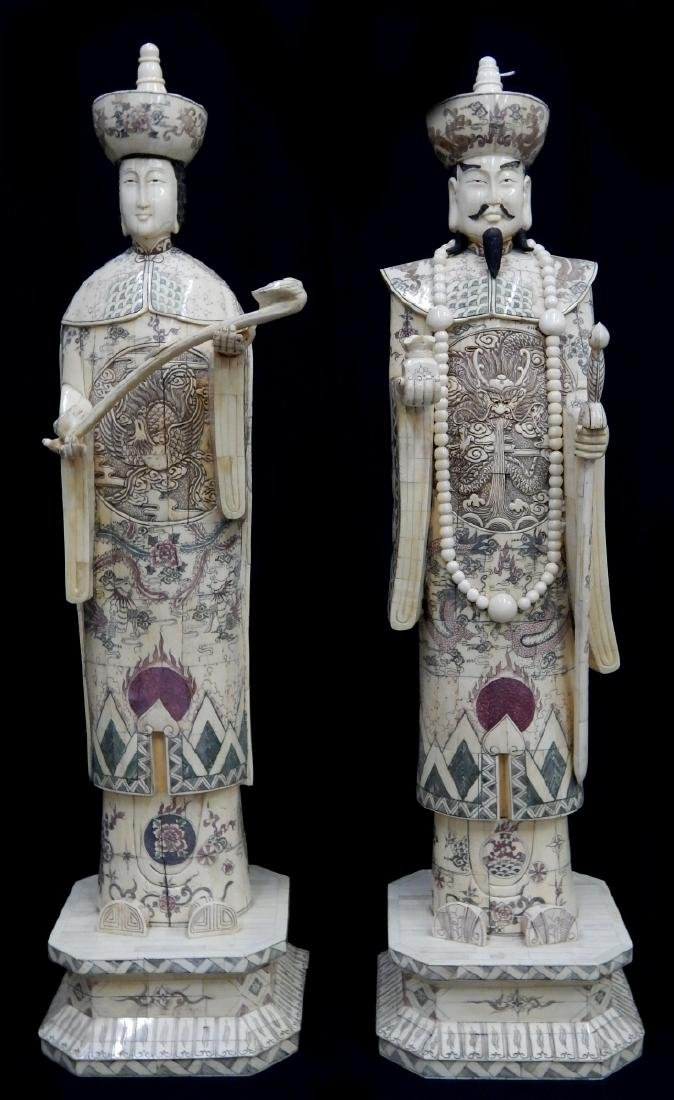 Pr LARGE CHINESE BONE STANDING EMPEROR & EMPRESS